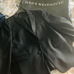 Brand new Black tux and Blue suede jacket